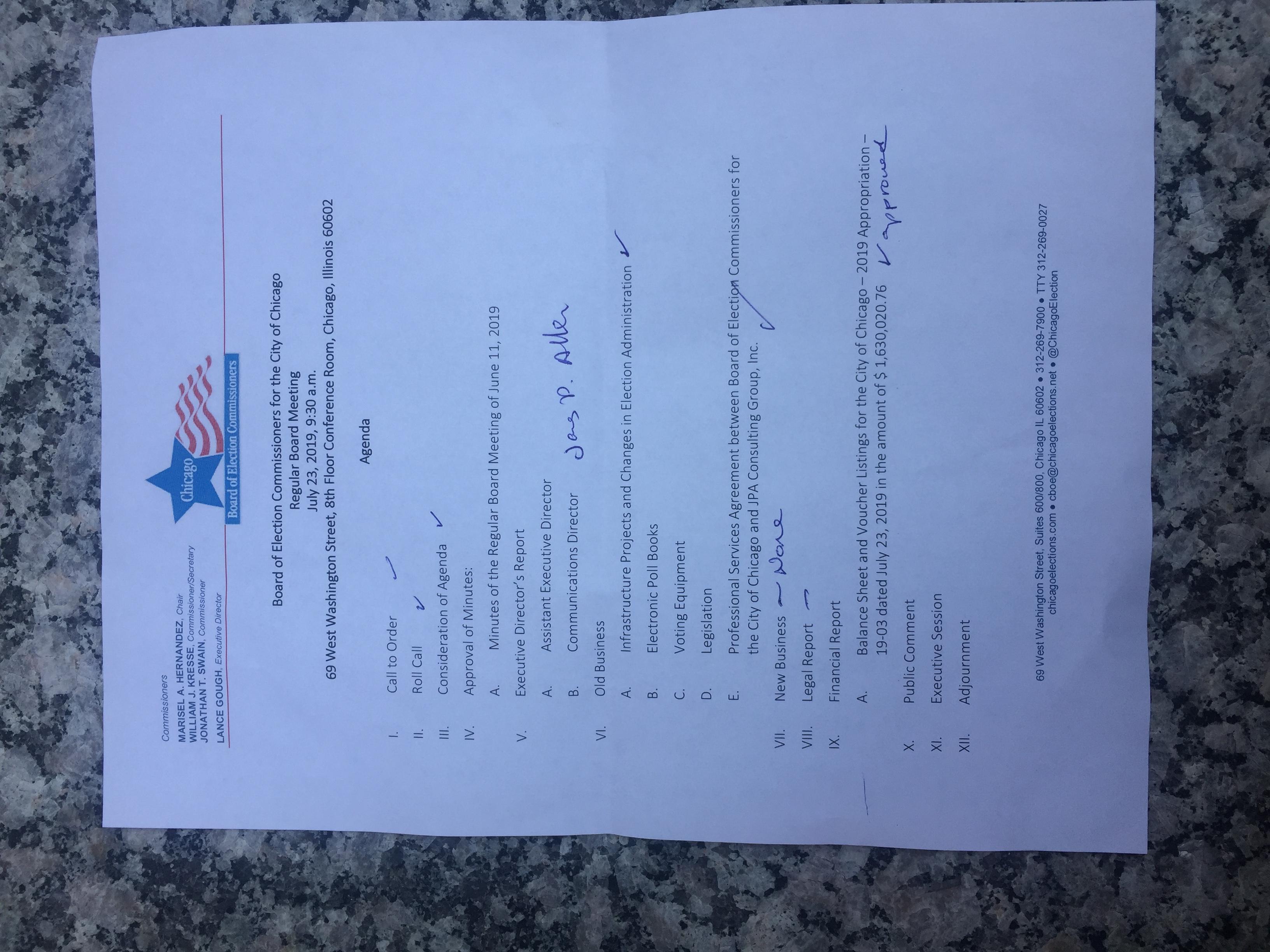 Board of Election Agenda